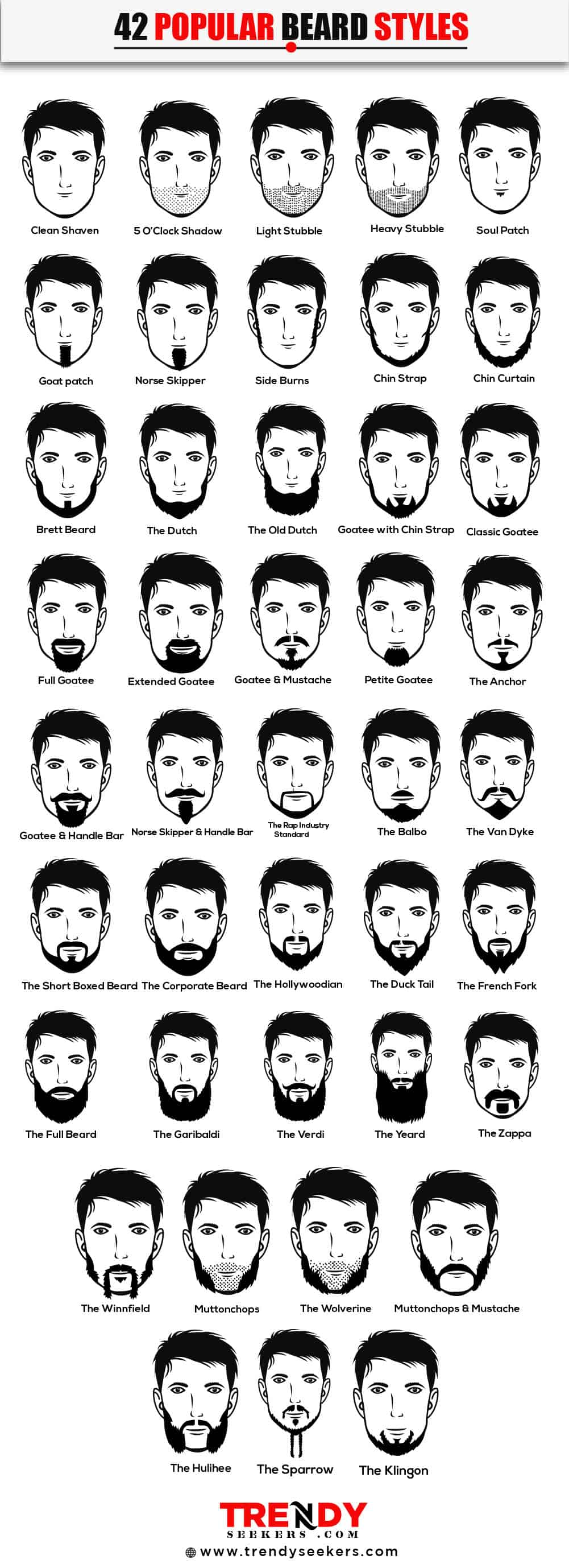 42 Popular Beard Style Infographic
