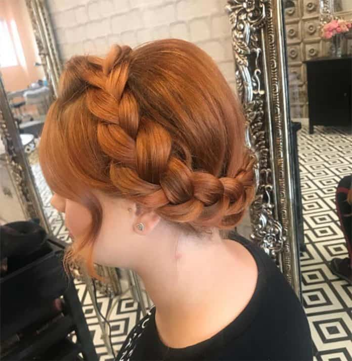 Halo Braid Medium Lenght Hairstyle