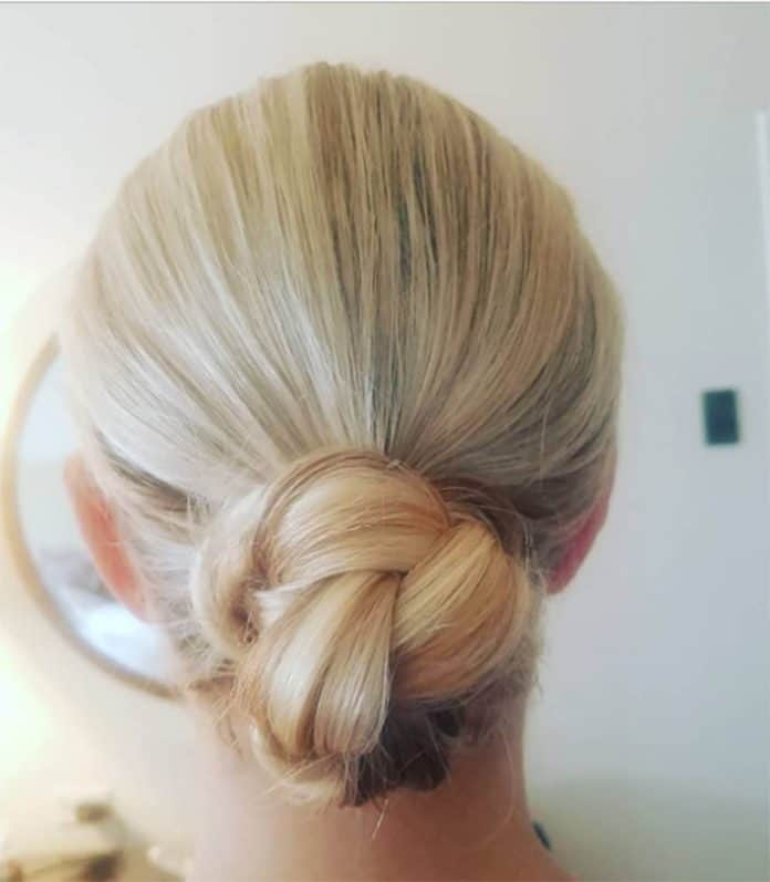 Plaited Bun Medium Length Hairstyle