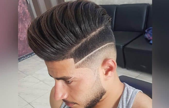 The Mid Fade Haircut w Hard Part Comb Over