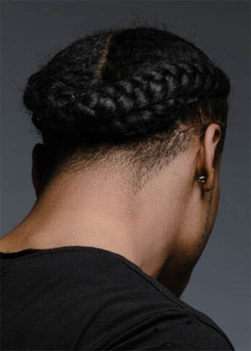 Back Crown Braid for Men Hairstyles