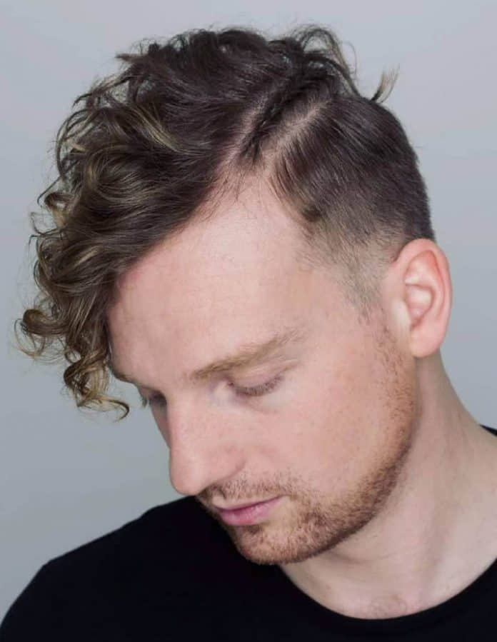 Black Curly Waves - Side Part Haircuts For Men