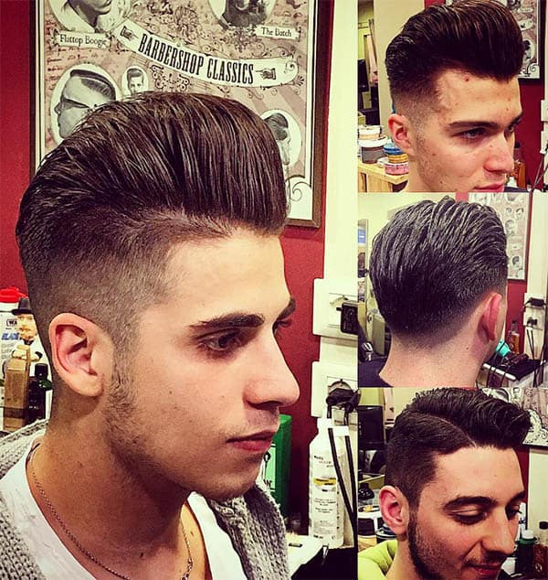 Blow Dry Pomp with Sharp Parting - Side Part Haircuts For Men