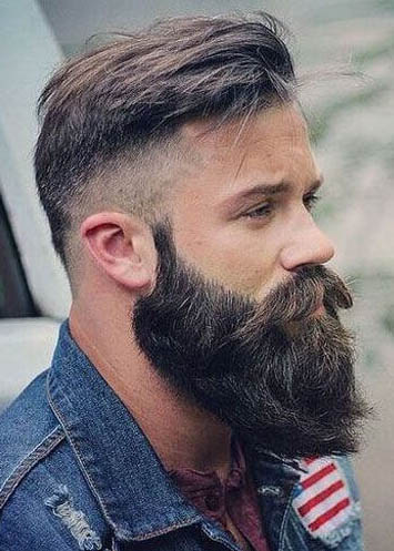 Comb Over with Long Beard - Comb Over Fade Haircuts