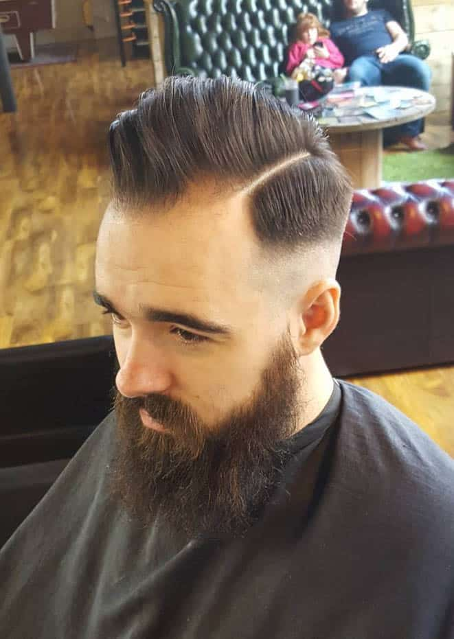Diagonal Sweep Back Sides Part Haircuts