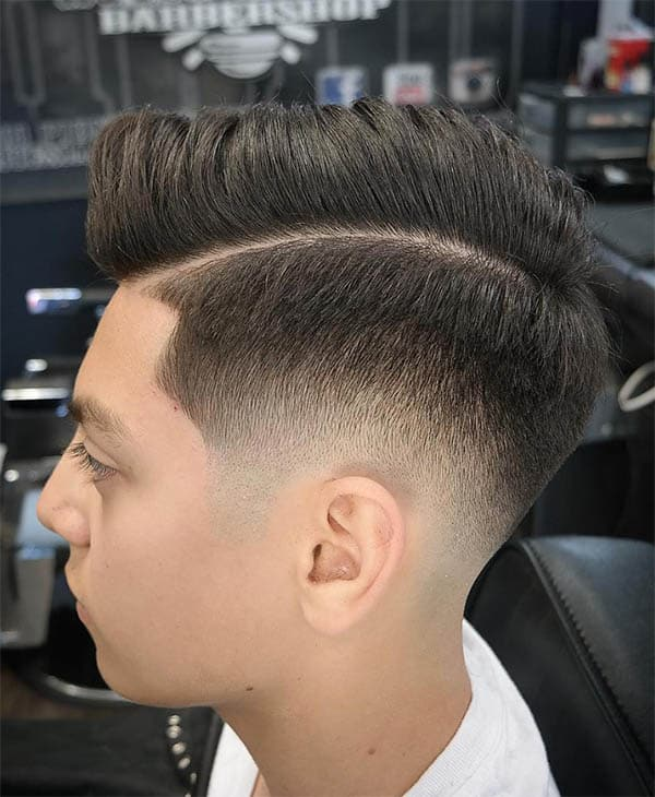 Faded Side Part with Curly Top - Side Part Haircuts