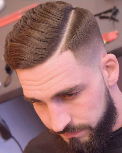 HARD SIDE PART WITH TAPER FADE AND FULL BEARD