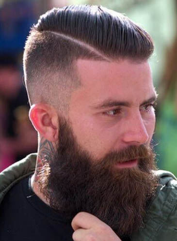 Hard Part with Long Beard - Comb Over Fade Haircuts