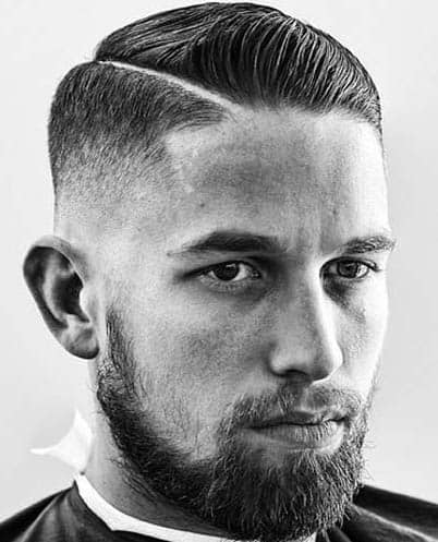 Hard Part with Short Beard - Comb Over Fade Haircuts