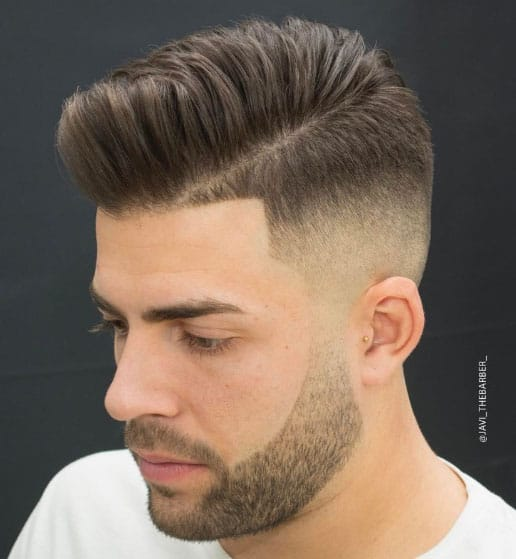 High Fade Pomp with Side Part Haircut