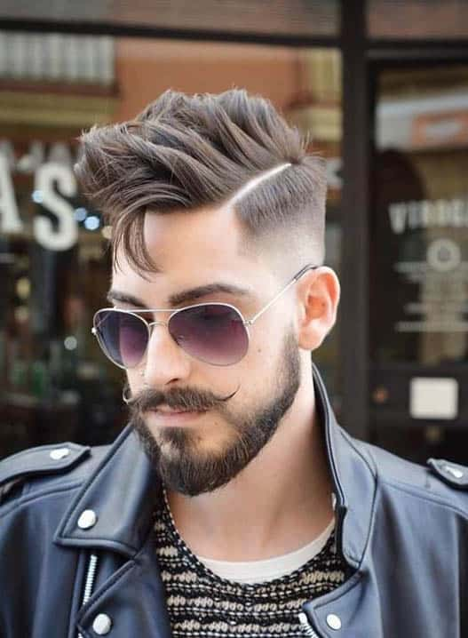 High Fade with Beard - Comb Over Fade Haircuts
