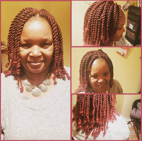 Long Chunky Twists, Red - Kinky Twist Hairstyles