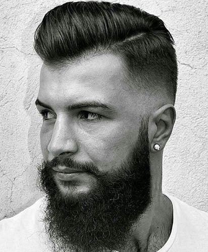 Low Fade with Beard - Comb Over Fade Haircuts