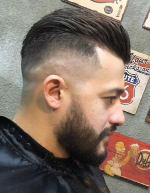 Razor Faded Pompadour Bald Fade Haircut