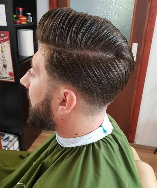 Side Part Pomp Bald Fade Haircut