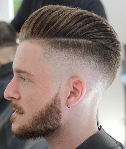 Skin Fade with Pompadour - Comb Over Fade Haircuts