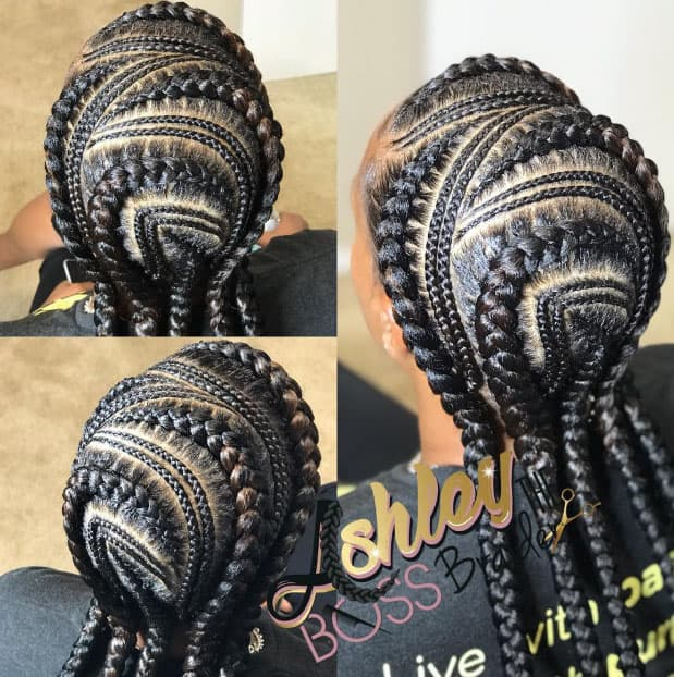 The Curved Cornrows - Goddess Braids Styles1