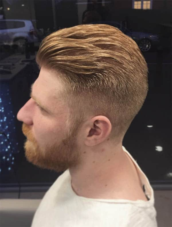 Blonde Fade Slick Back Haircuts For Men
