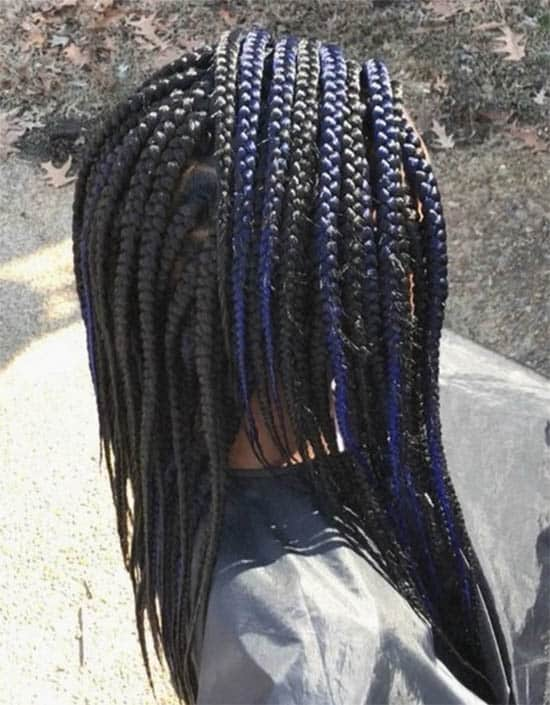 Blue-Black Box Braids For Black Women