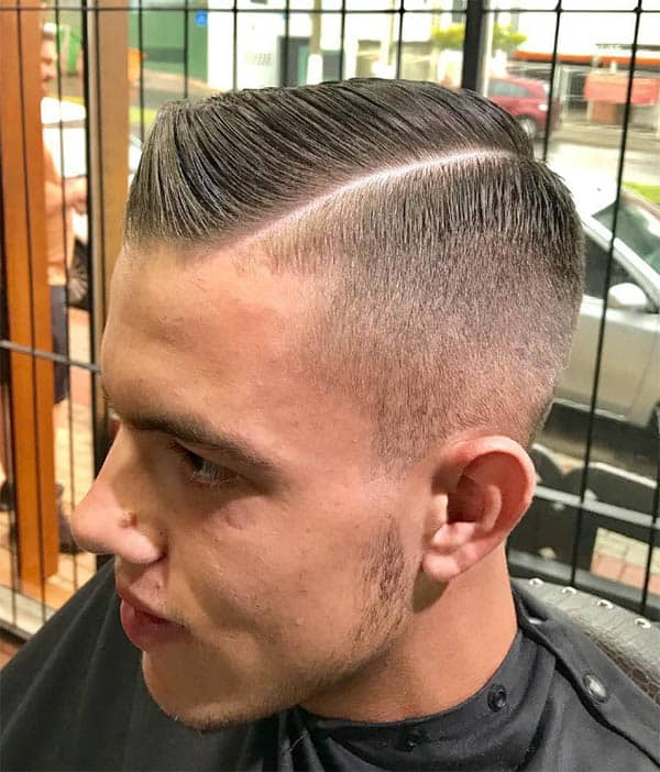 Crew Cut With Hard Part Hairstyle