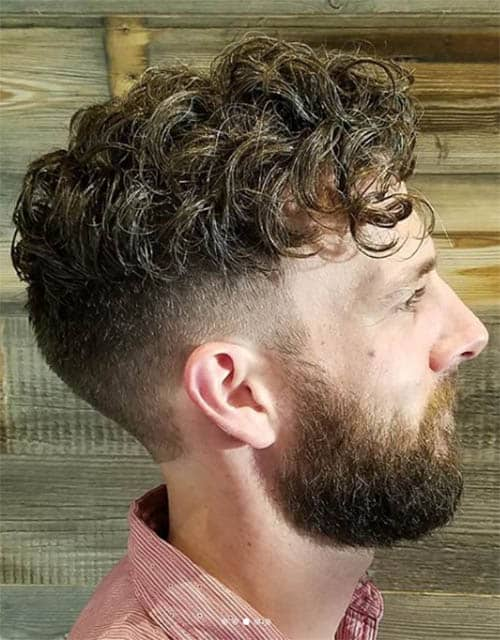 Curly with Beard - Men's Long Hair With Undercut Hairstyles