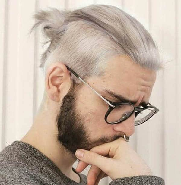 Eye-Catching Grey Knot - Trendy Samurai Hairstyles