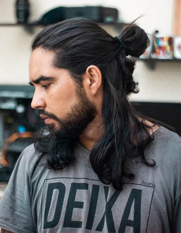 Half Bun and Long Hair - Trendy Samurai Hairstyles