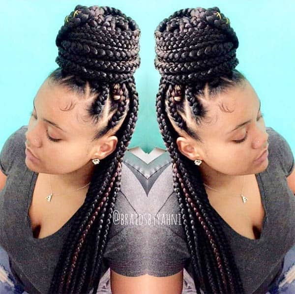 Half-Up Bun - Box Braids For Black Women