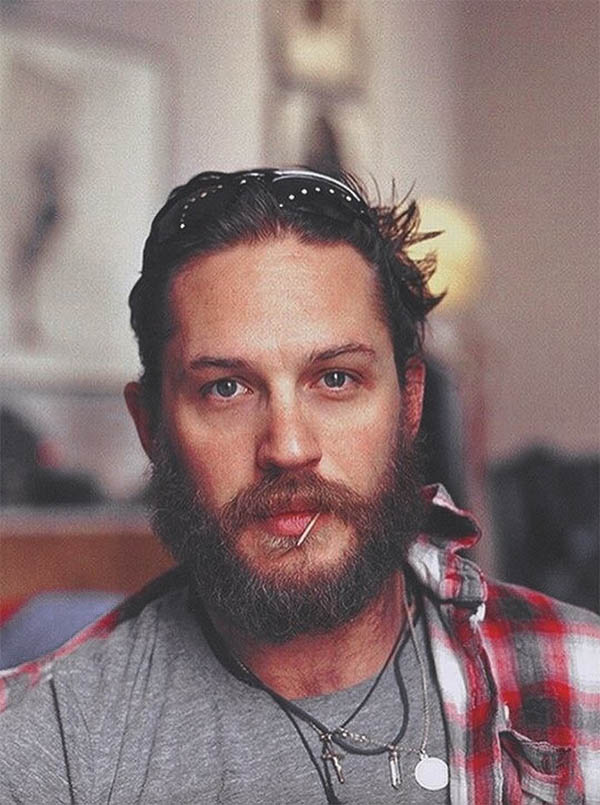 Long Slicked Back with Beard - Best Tom Hardy Haircut
