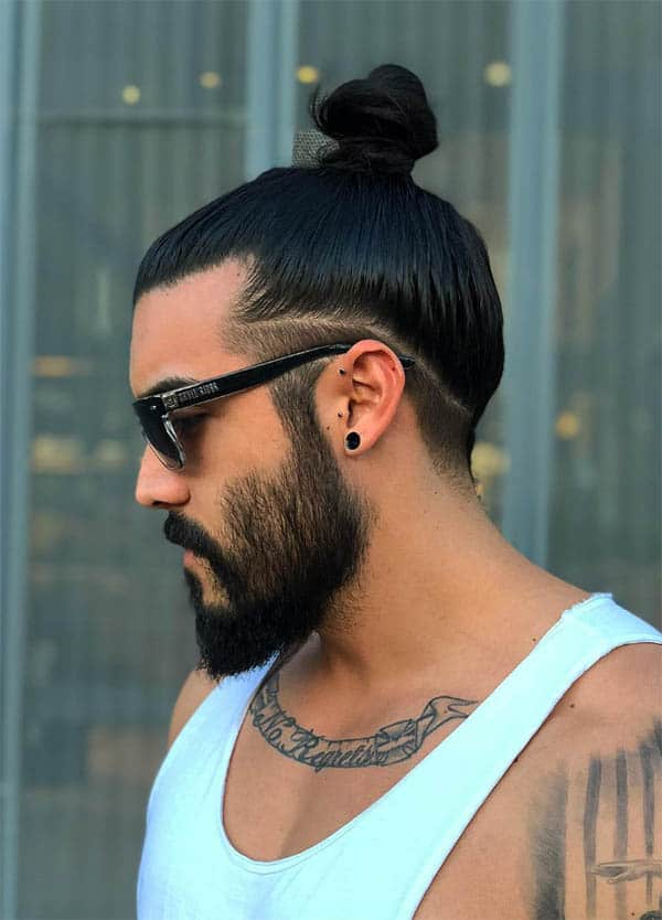 Man Bun with Low Fade - Men's Long Hair With Undercut Hairstyles