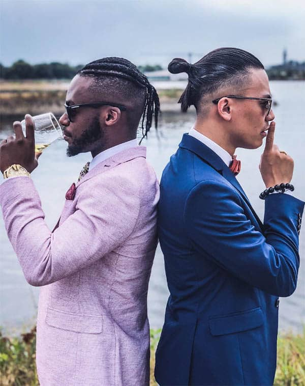 Man Bun with Side Plait - Trendy Samurai Hairstyles