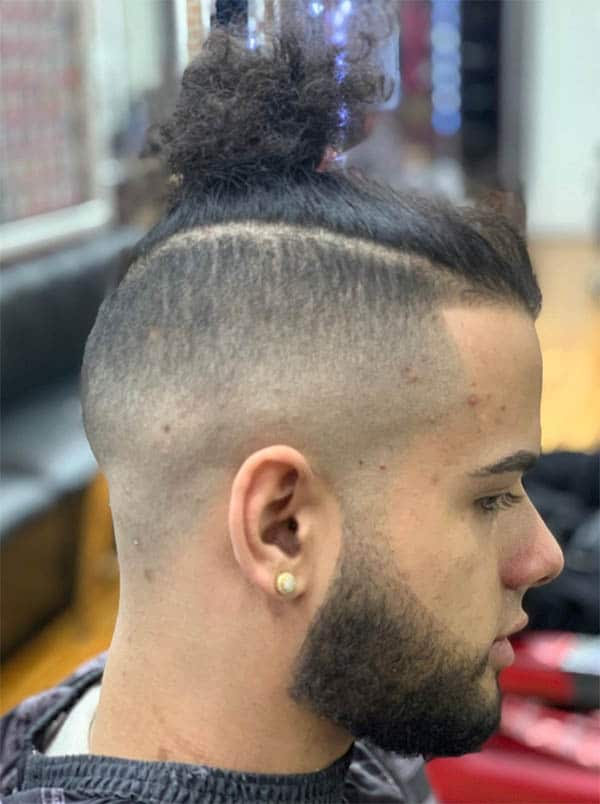 Man Bun with Skin Fade and Beard - Men's Long Hair With Undercut Hairstyles
