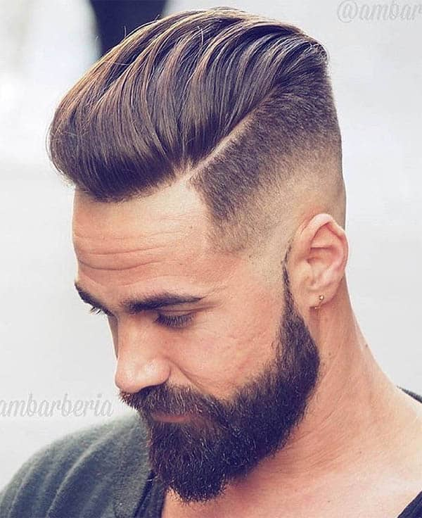 Medium Length Pompadour + Hard Side Part - Disconnected Undercut Hairstyles
