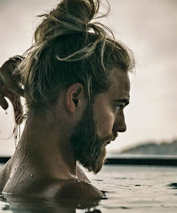 Messy Man Bun and Beard - Trendy Samurai Hairstyles