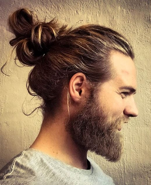Messy Man Bun and Goatee - Trendy Samurai Hairstyles