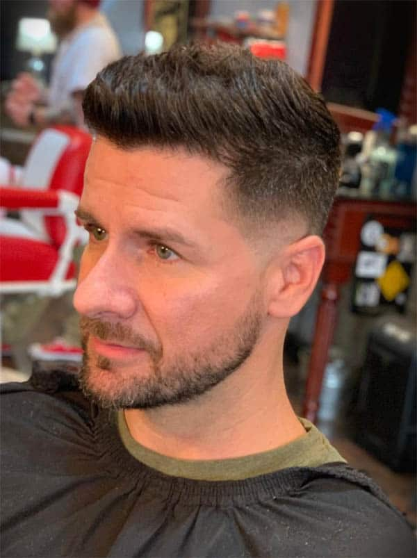 Messy Top + Mid Taper Fade - Medium Length Hairstyles For Men