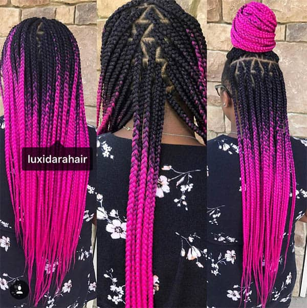 Ombre Black Blend Box Braids For Black Women