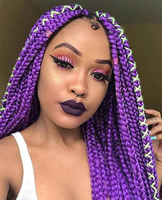 Purple Royal Box Braids For Black Women