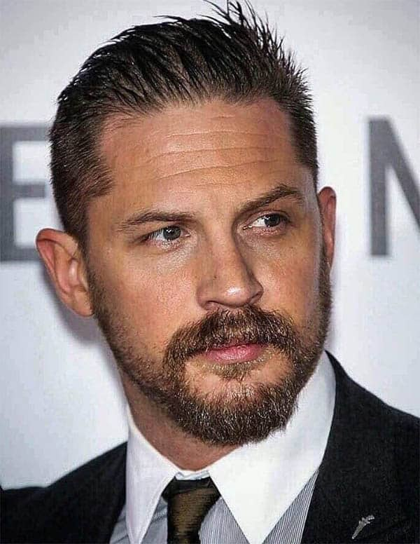 Sharp Slick-Back with Beard - Best Tom Hardy Haircut