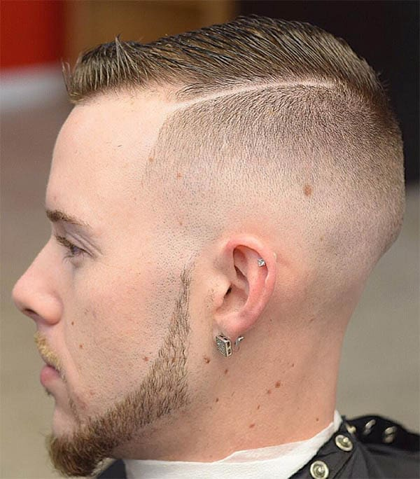 Side Parted Ivy League with High Fade Haircuts