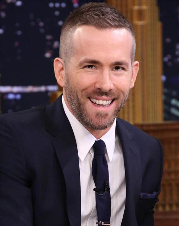 Simple Long Top and Short Sides - Ryan Reynolds Best Haircuts