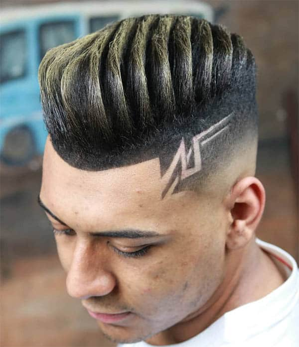 Sleek And Textured Quiff With Design - Best Quiff Haircuts For Men