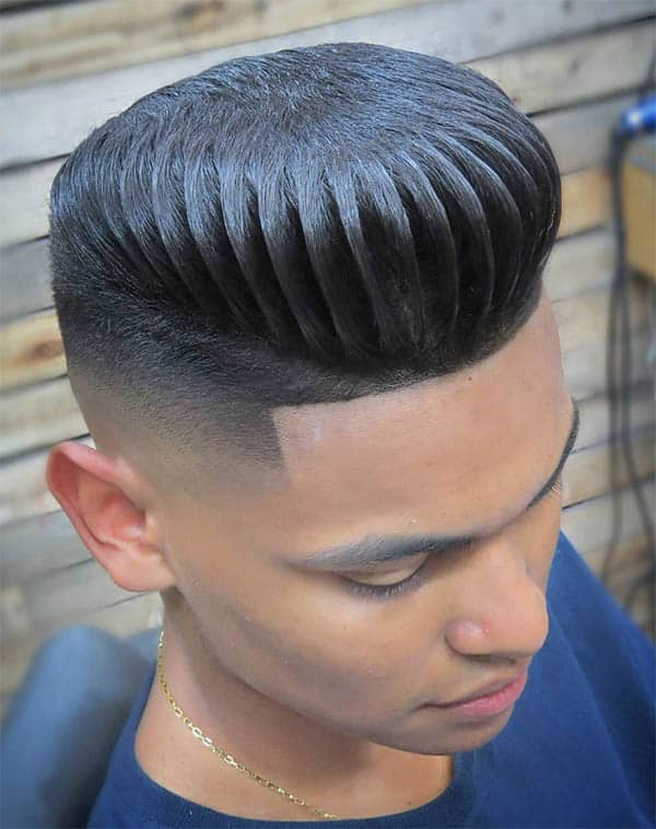 Sleek Back Pomp + Comb Design + Disconnected Undercut - Disconnected Undercut Hairstyles