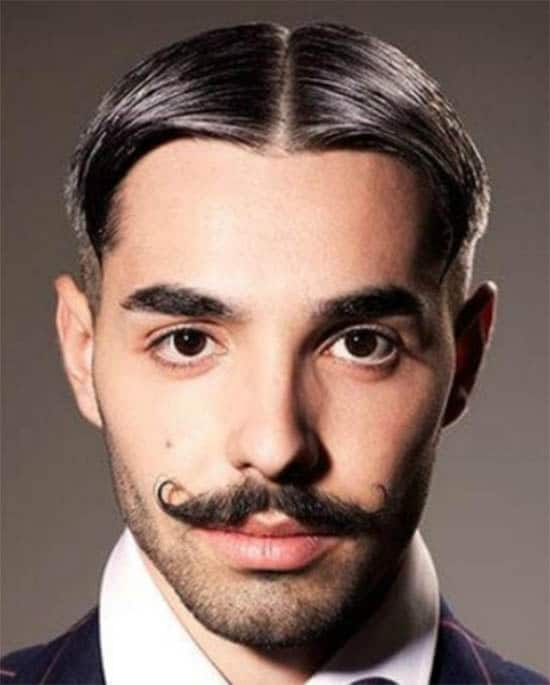 Slick Back with Moustache For Men