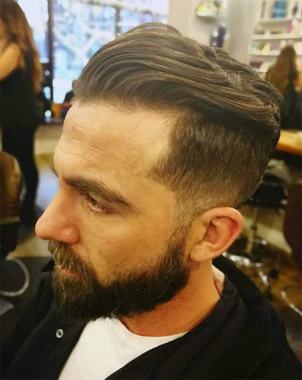 Slicked Back with Fade and Beard - Men's Long Hair With Undercut Hairstyles
