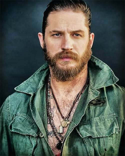 Slicked Back with Long Beard - Best Tom Hardy Haircut