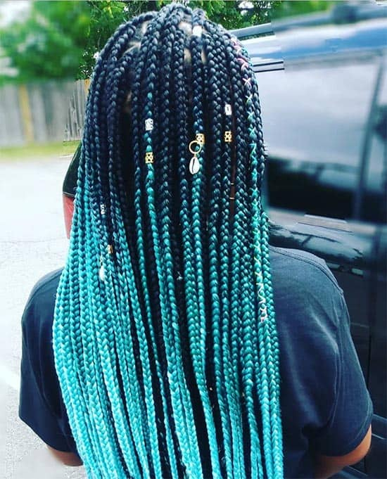 Teal with Style Box Braids For Black Women