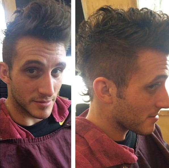 The Curly Faux Hawk Cut - Short Sides Long Top Hairstyles For Men
