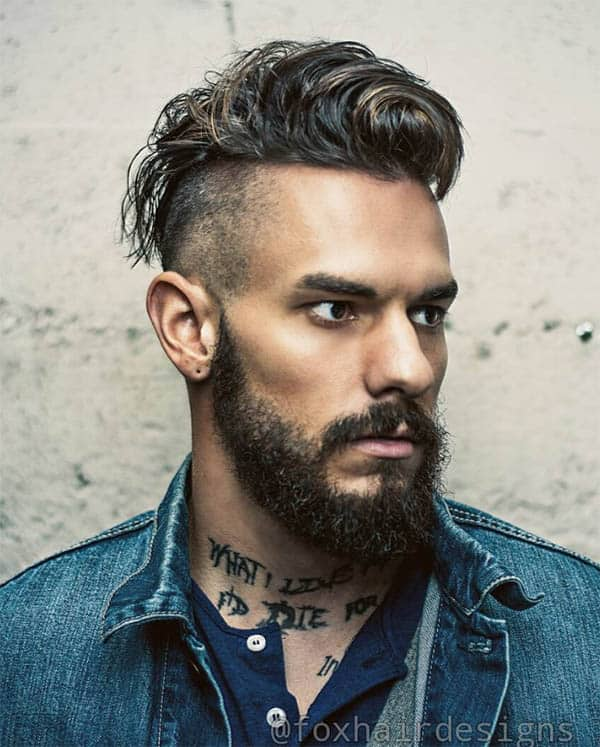 Wavy High Fade with Beard - Men's Long Hair With Undercut Hairstyles