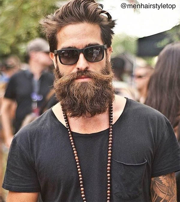 Wavy Sleek Back + Hipster Beard - Men's Wavy Hairstyles